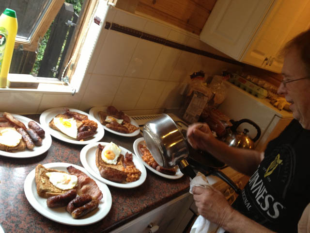 Breakfast being prepared by Richard G7HJK