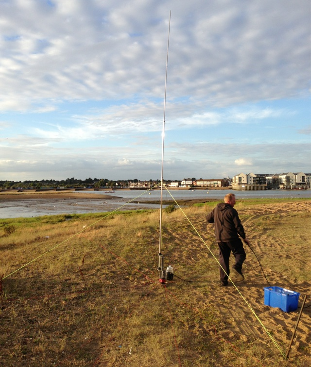 M0YNK setting up the 20m vertical