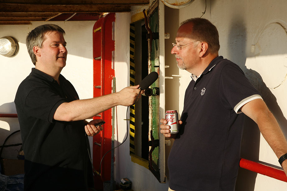 Pete, M0PSX interviewing Keith, G6NHU for FrequencyCast onboard MV Ross Revenge, home of Radio Caroline.