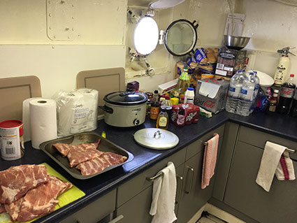 Food, drinks, we had it all on the Ross Revenge, home of Radio Caroline for the GB5RC special event station.